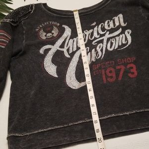 Affliction Tops - Affliction Buckle Sweatshirt Large Gray Bling